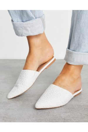 ASOS Lava pointed flat mules in white broderie