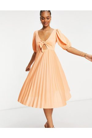 ASOS Pleated front tie puff sleeve midi skater dress in coral-Pink