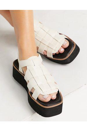 Stradivarius Flatform multi strap sandal in white