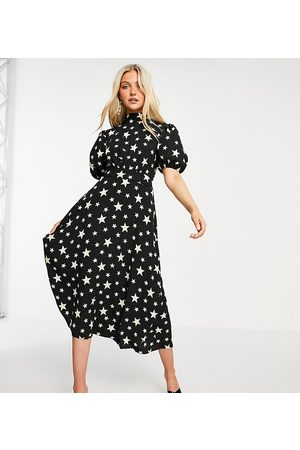 John Zack Exclusive puff sleeve midi dress with open back detail in black star print-Multi