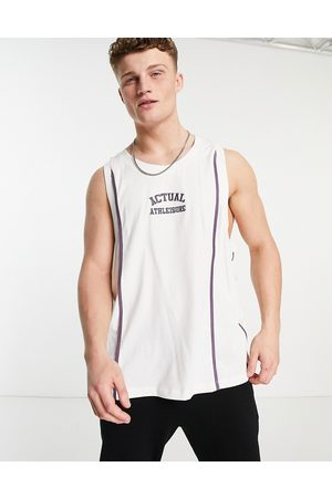 ASOS Athleisure basketball vest in ecru with embroidered chest logo and seam detail-White