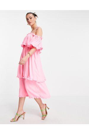 River Island Ruffle tiered maxi slip dress in pink
