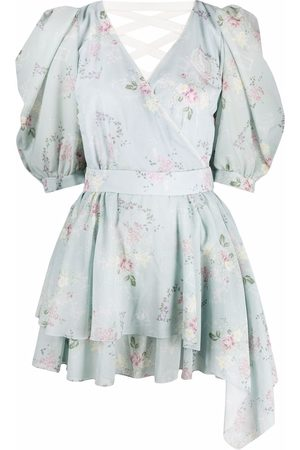 ULYANA SERGEENKO Damen Bedruckte Kleider - Tie-fastening floral print dress
