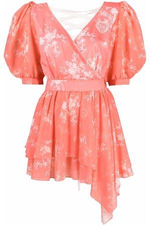 ULYANA SERGEENKO Damen Freizeitkleider - Floral-print ruched mini dress