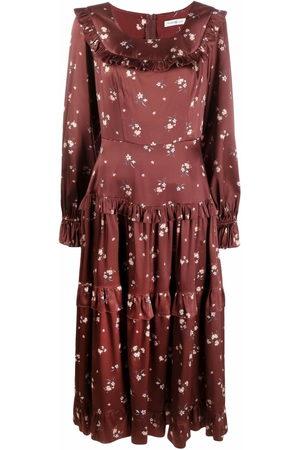 Roses & Lace Damen Bedruckte Kleider - Floral-print silk midi dress