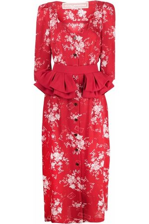 ULYANA SERGEENKO Floral-print ruffled midi dress