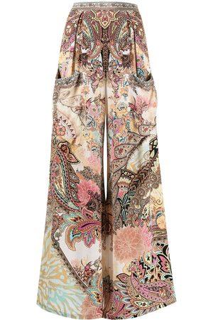 Camilla Paisley-print wide leg silk trousers