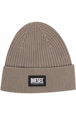 Diesel Logo-patch ribbed beanie