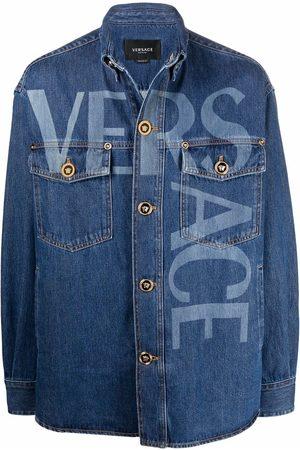 VERSACE Greca logo-lettering denim jacket
