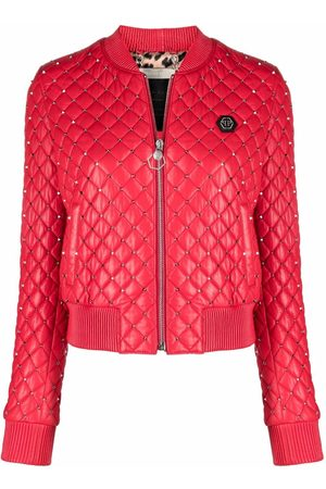 Philipp Plein Damen Sommerjacken - Stud-embellished bomber jacket