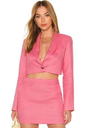 Amanda Uprichard Damen Blazer & Sakkos - X REVOLVE Linen Pembroke Blazer in - Pink. Size L (also in XS, S, M).