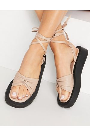SIMMI Shoes Simmi London Naeva ankle tie flatform sandals in black