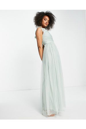 ANAYA With Love tulle ruffle off shoulder tulle maxi dress in white