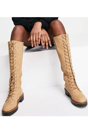 ASOS Wide Fit Courtney chunky lace up knee high boots in sand-Neutral