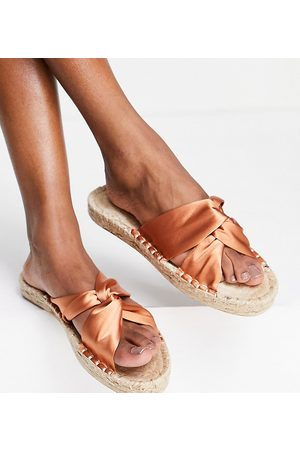ASOS Wide Fit Jolly knotted mule espadrille in rust-Copper