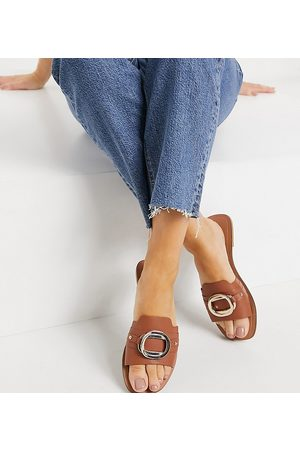 ASOS Wide Fit Facts cross strap mule sandals in tan-Brown