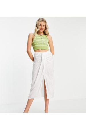 ASOS ASOS DESIGN Tall midi skirt with drape detail in white