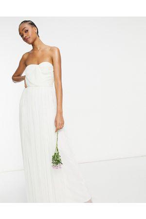ANAYA Damen Lange Kleider - With Love Bridesmaid tulle bandeau maxi dress in navy