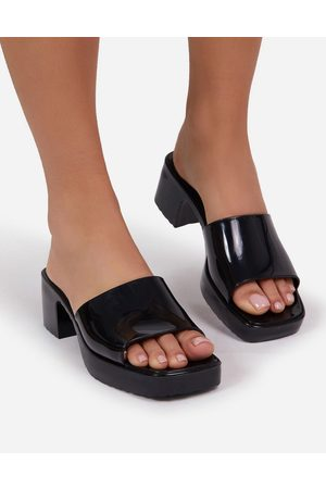 Ego Rhea mid heel mule sandals in blue