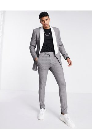 ASOS Slim longline puppytooth check tuxedo suit jacket with contrast lapel-Multi