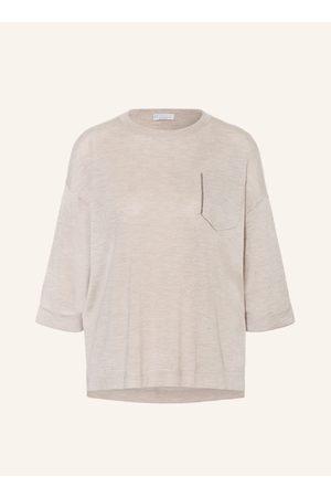 Brunello Cucinelli Damen Strickpullover - Cashmere-Pullover Mit Seide beige