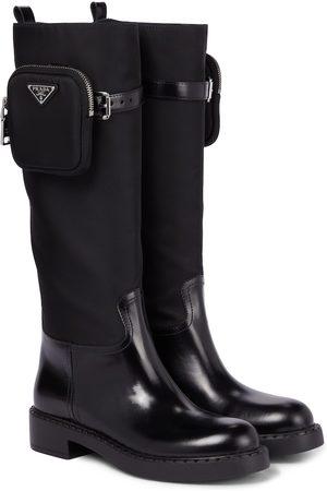 Prada Stiefel aus Leder und Nylon