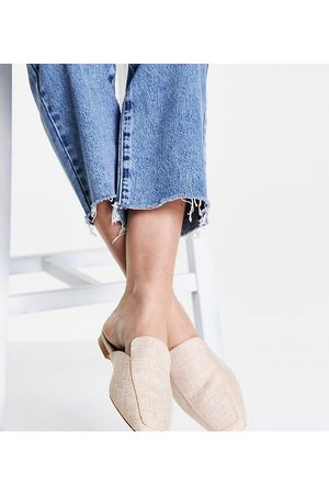ASOS Wide Fit Maria square toe mules in natural-Neutral
