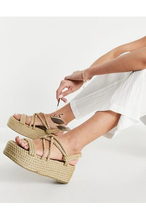 Raid Tinly flatofrm rope sandals in black