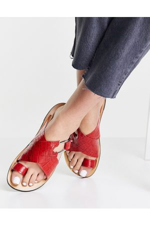 ASOS Fleet Street leather toe loop sandals in red croc