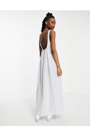 ASOS Scoop maxi dress with ruched back in stripe print-Multi