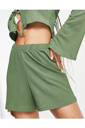 ASOS Jersey textured co-ord long sleeve beach tie front crop top in khaki-Green