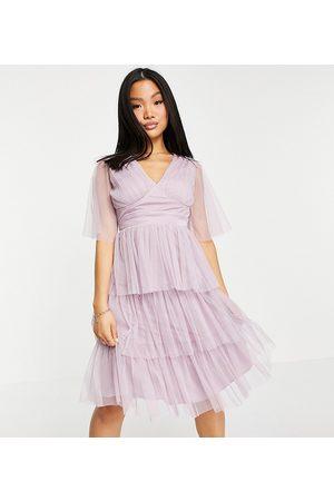 ANAYA Anaya With Love Maternity flutter sleeve midi dress in pale blue-Pink