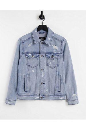 Hollister Indigo denim trucker jacket in medium wash-Blue