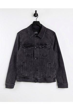 Hollister Back logo denim trucket jacket in black wash