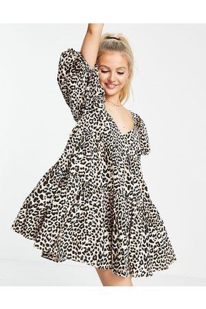ASOS Cotton tiered mini smock dress in animal print-Multi