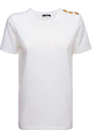 BALMAIN T-shirt Aus Bio-baumwolljersey Mit Druck