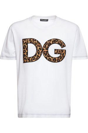 DOLCE & GABBANA Herren Shirts - T-shirt Aus Baumwolle Mit Dg-leopardendruck