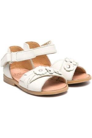 PèPè Sandalen - Floral appliqué leather sandals