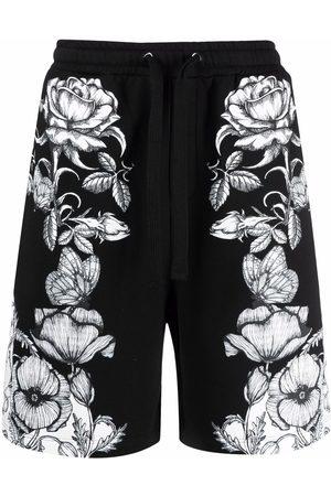 VALENTINO Blooming-print track shorts