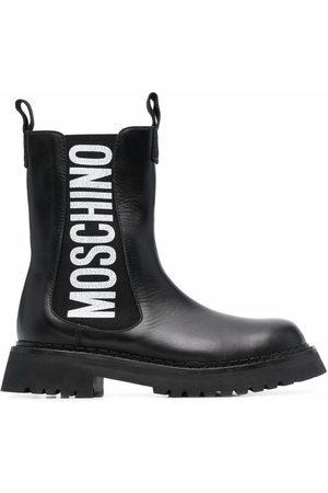 Moschino Damen Stiefeletten - Logo-print ankle boots