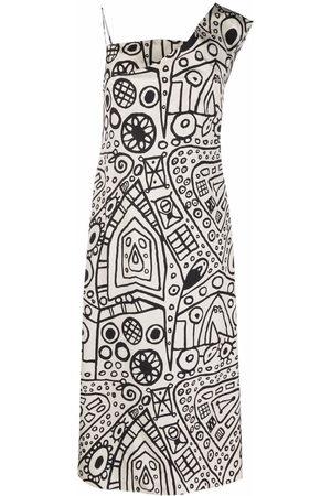 Colville Graphic-print one-shoulder dress
