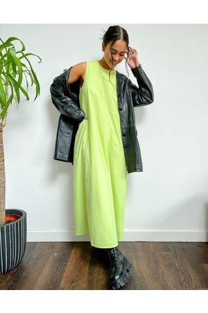 Native Youth Oversized swing dress in lime poplin-Green