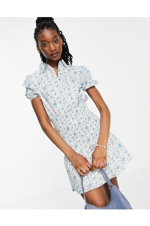 Influence Floral shirt dress with shirred detail-Multi