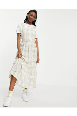 ASOS Dungaree midi sundress with shirred straps in yellow check print-Multi