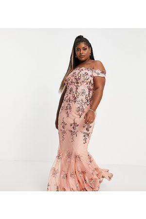 Goddiva Off shoulder embellished maxi dress in peachy pink