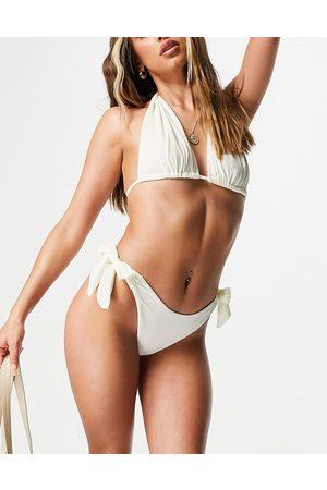 ASOS Tie side bikini bottom in ivory velvet-White