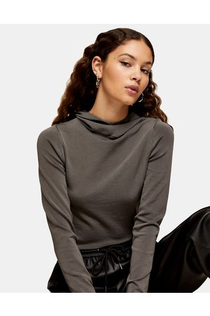 Topshop Slinky knitted hoodie in grey