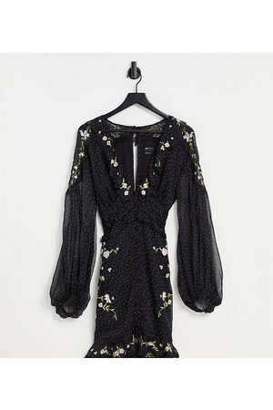 ASOS ASOS DESIGN Curve spot printed mini dress with collar and embroidery detail-Black