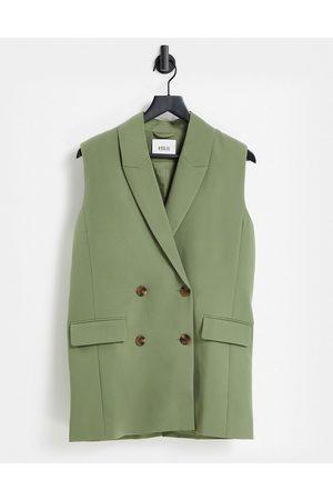 Envii Juliette waistcoat shacket co-ord in green