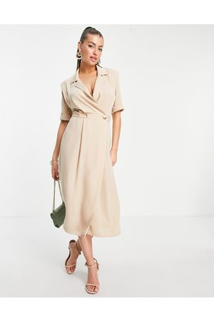 ASOS Wrap tux midi dress with shoulder pads in stone-Neutral